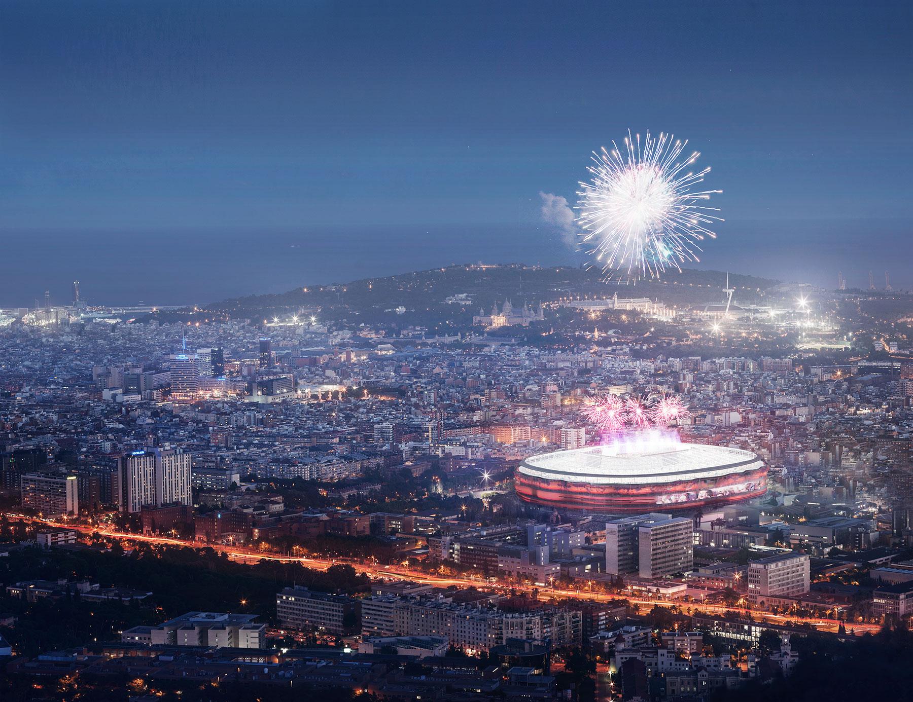 FCBarcelona aerial fireworks render 3D