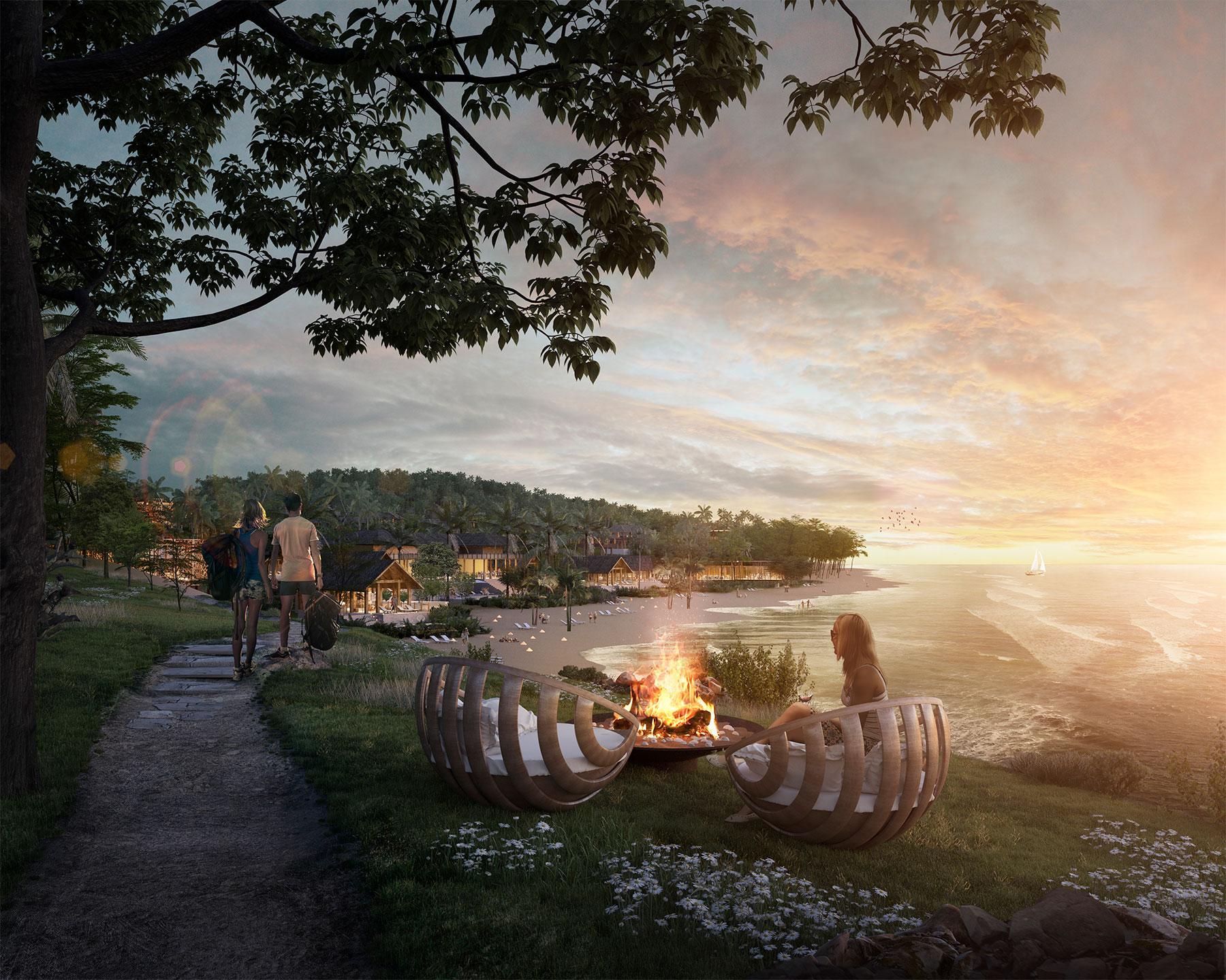 render of sunset resort in forest
