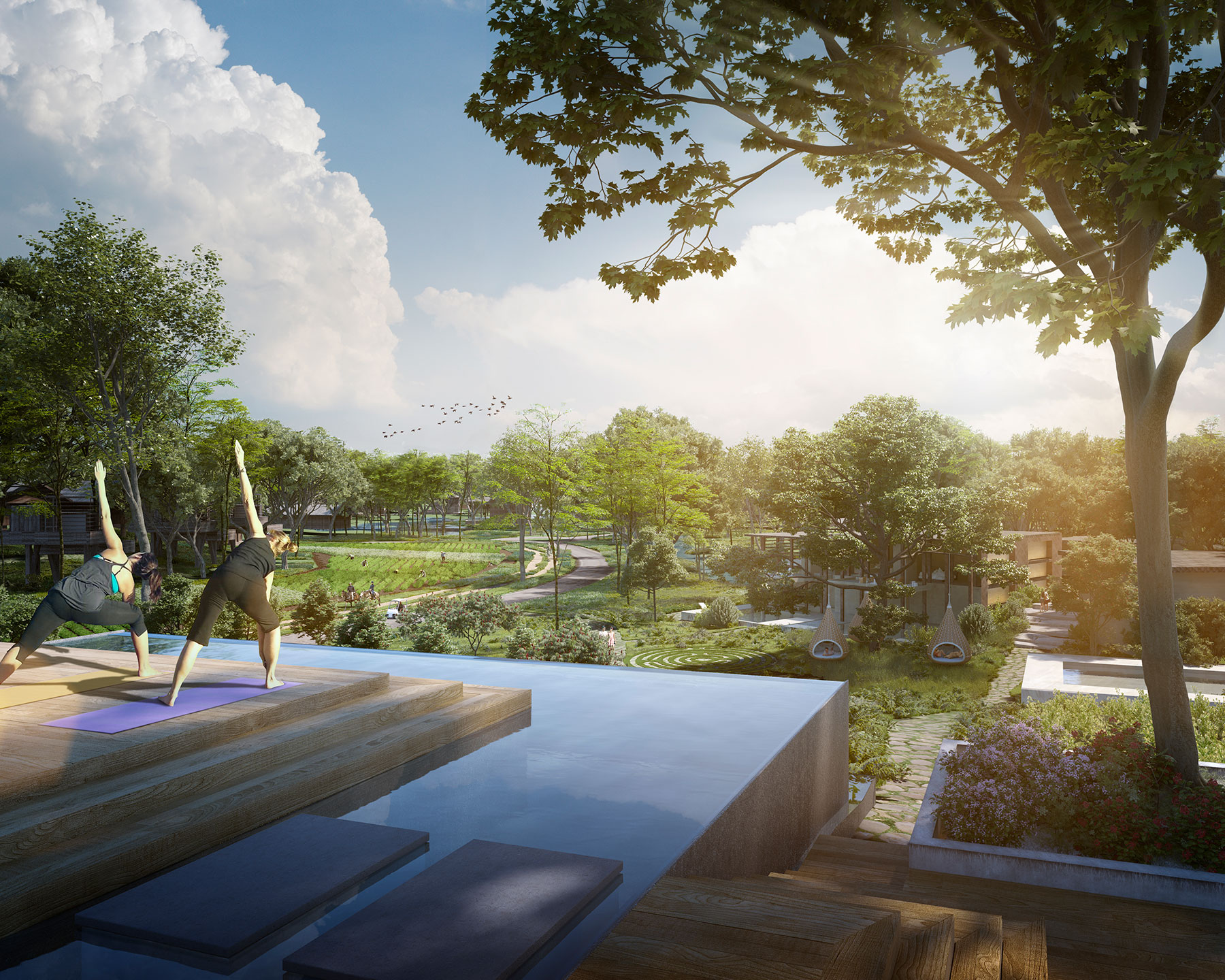 3D yoga resort in forest