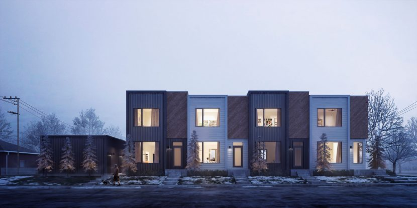 3D exterior render achitecture with snow
