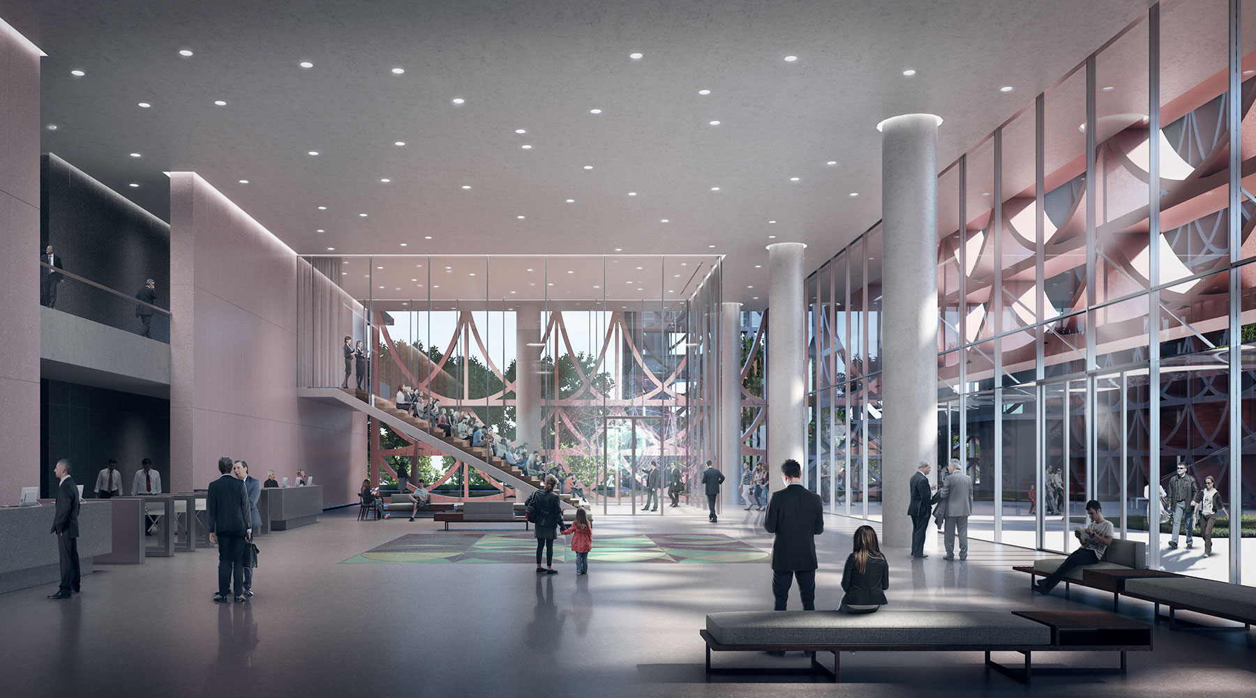 3D Interior lobby architecture rendering images by Serie Architects