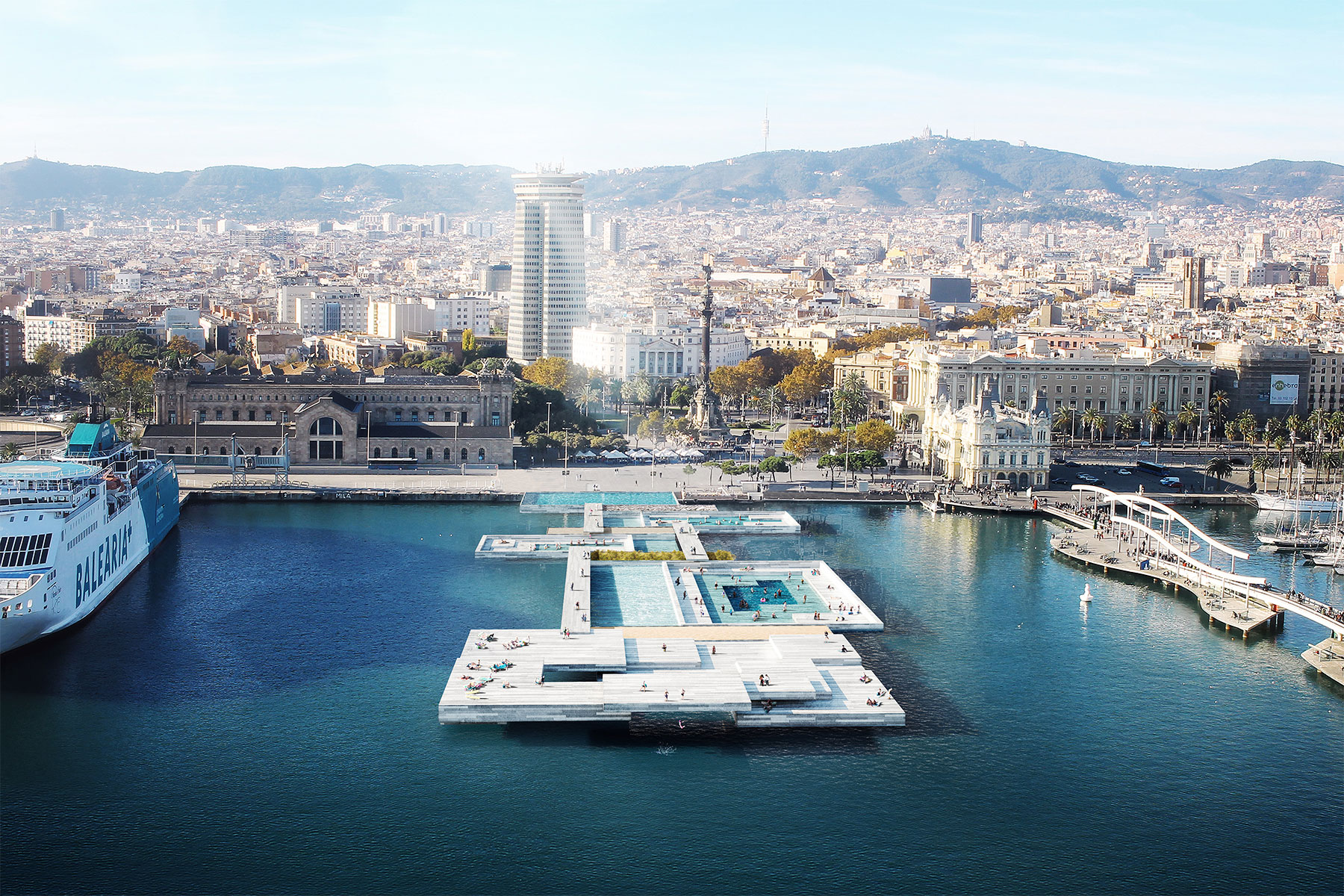 Aerial Barcelona sea port render