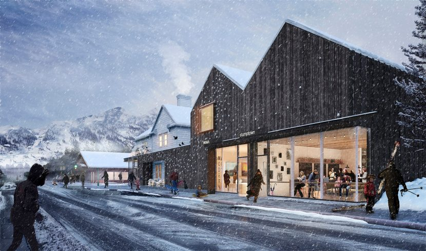 Exterior winter street 3D image