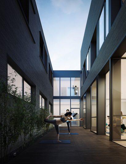 Yoga architecture interior render 3d