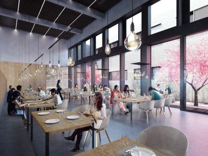 restaurant interior render 3d