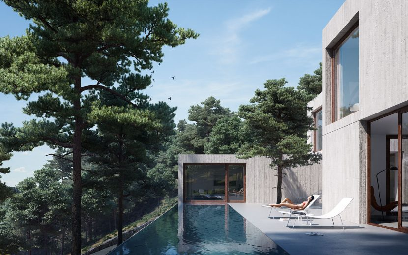 render exterior architecture house between forest