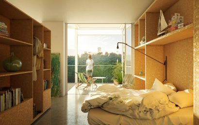 3D interior architecture bedroom render