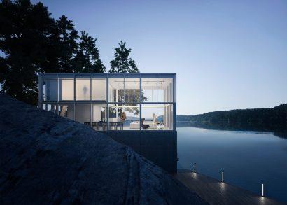 Dusk exterior architecture building render