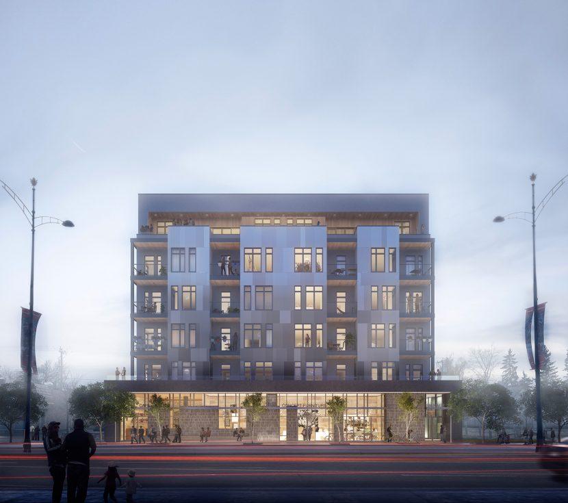 3D Foggy dusk Architectural building render