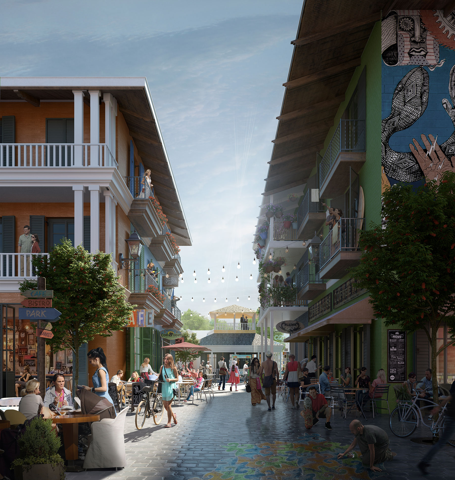 Street of architectural resort render
