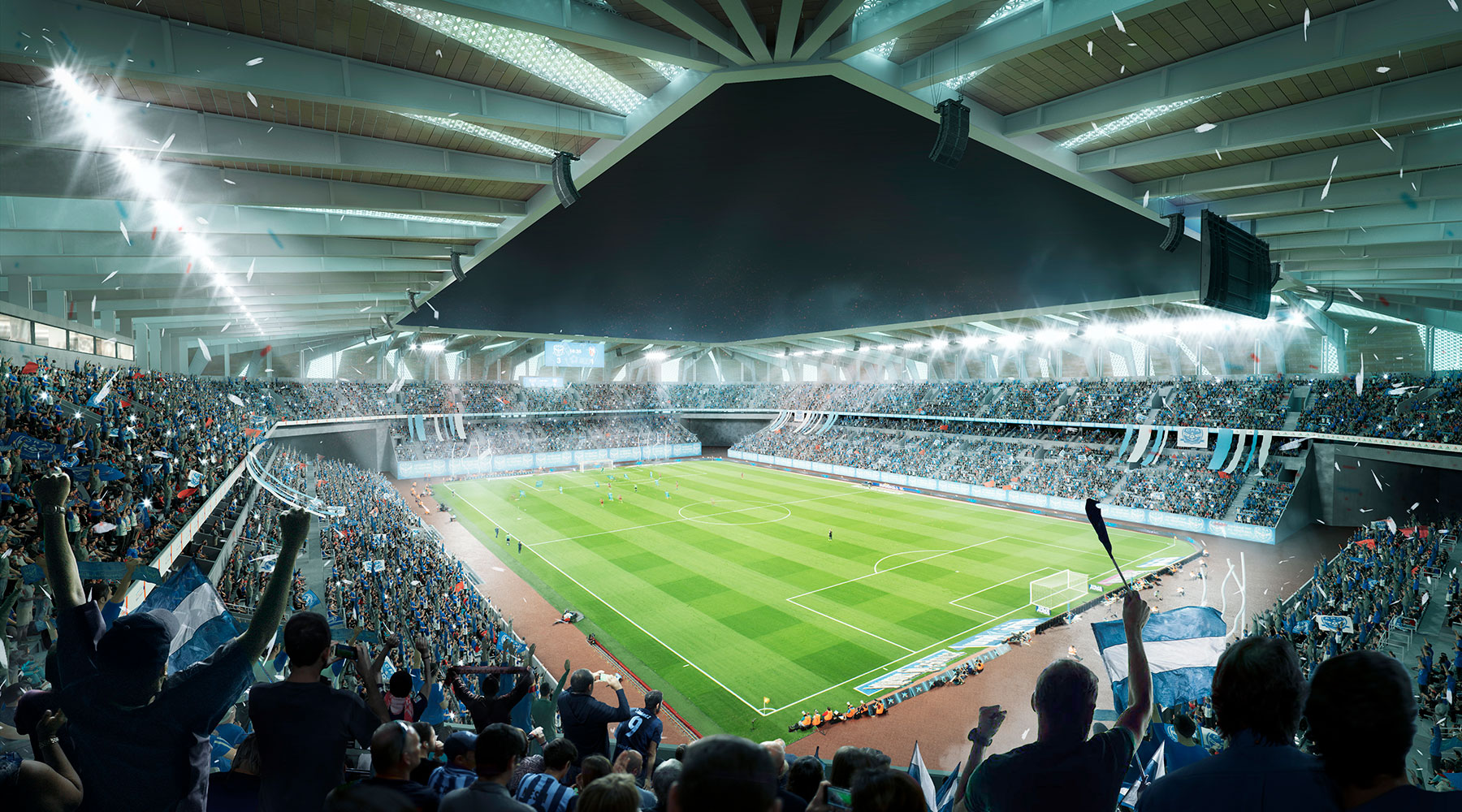 3D Architecture Stadium interior bowl rendering Image