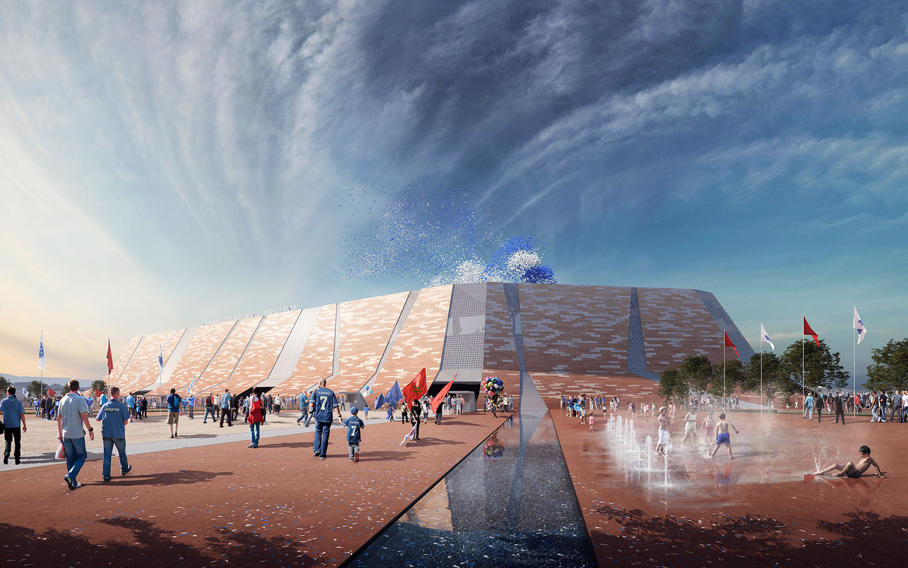 3D Architecture Stadium exterior rendering image